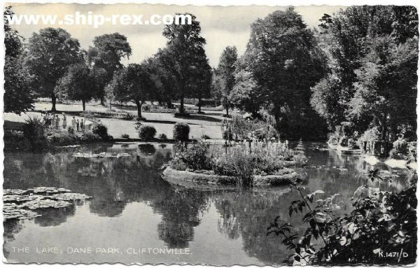 Cliftonville, The lake, Dane Park - old postcard